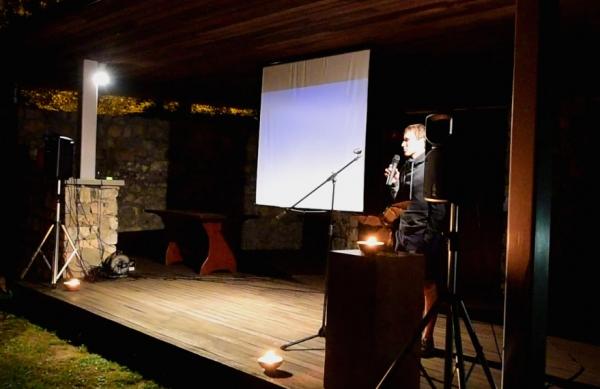 Mario Benkoč predstavnik avtorjev filma večera po izboru publike (foto: Borut Lozej)