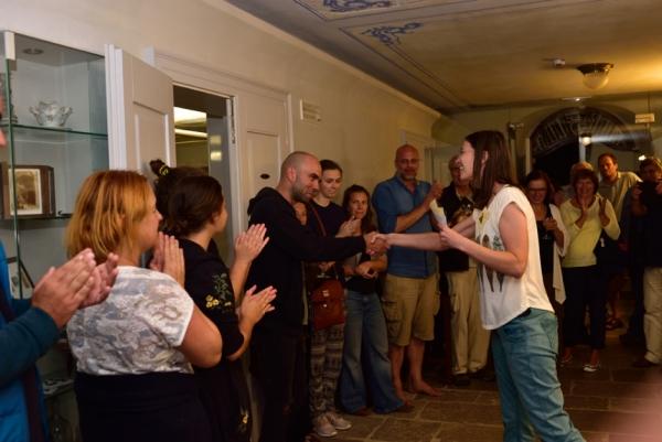 Simon Grbec med razglasitvijo najljubšega in najboljšega filma večera (foto: Borut Lozej)